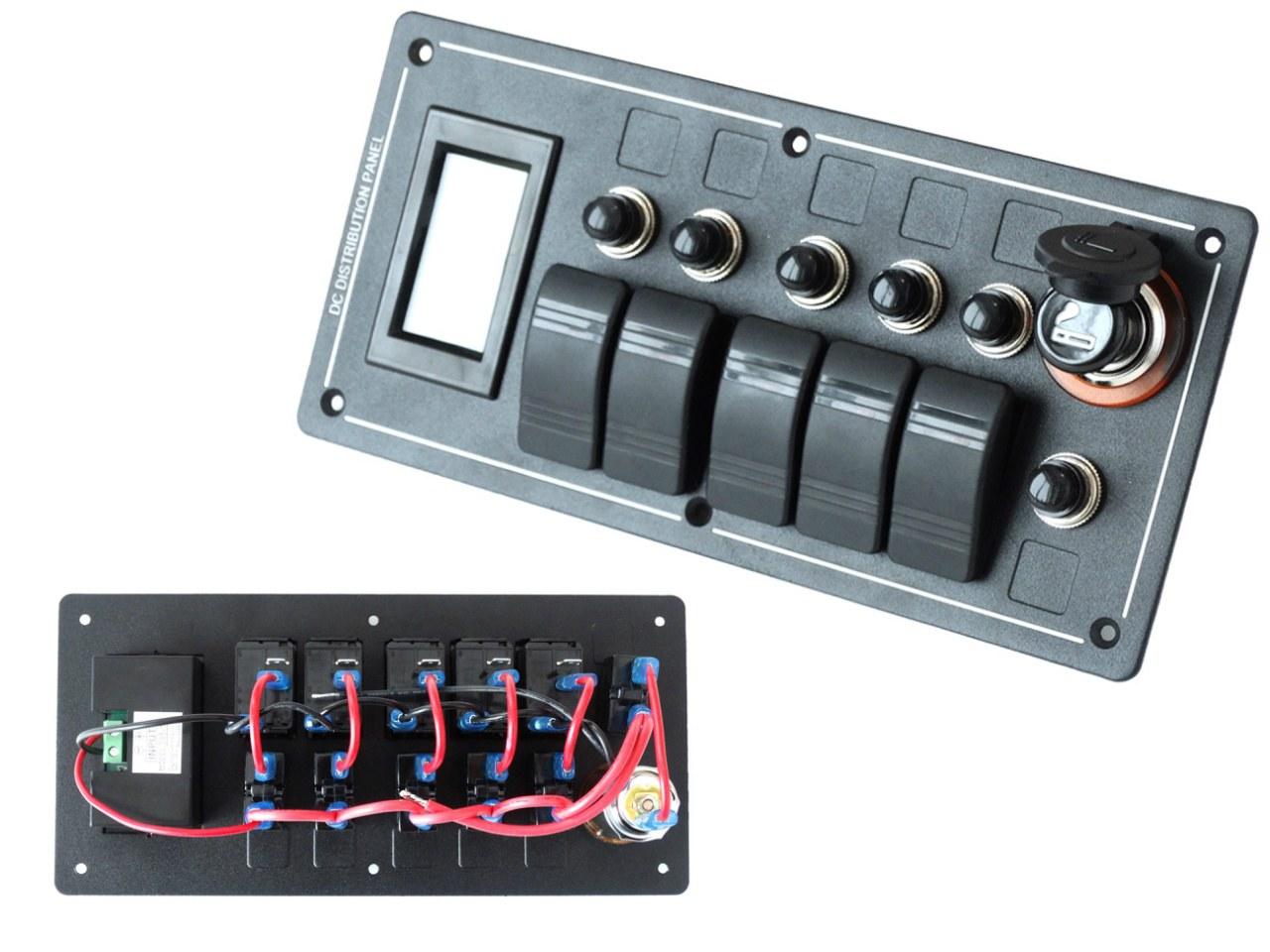 Panel przełączników ALU,ON-OFFx5, 1xZ, BA 3x5A 2x10A 1x15A IP68 - GRUBYGARAGE - Sklep Tuningowy